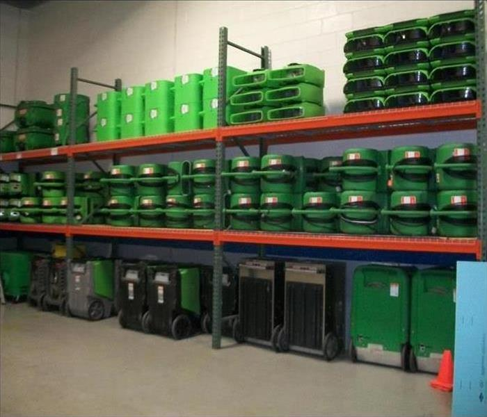 Shelves stocked with our green machines